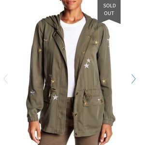 Bagatelle anorak jacket, army green with stars